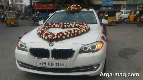 تزیین ماشین عروس با گل