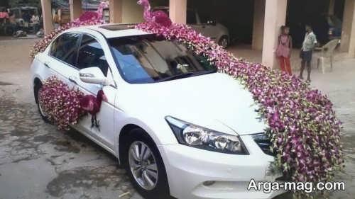 تزیین کردن ماشین عروس با گل
