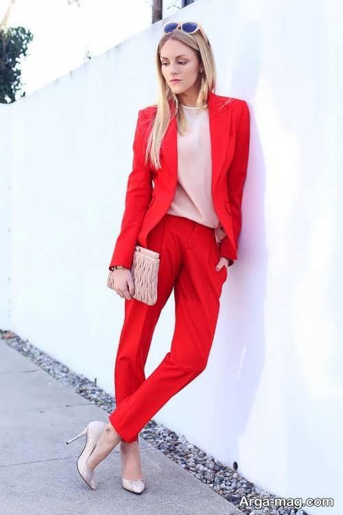 مدل کت و شلوار قرمز زنانه