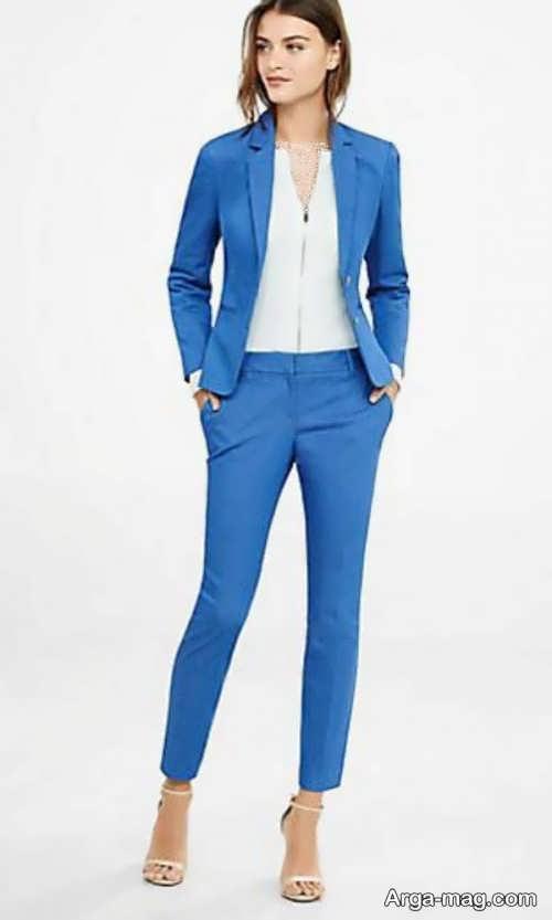 کت و شلوار آبی زنانه