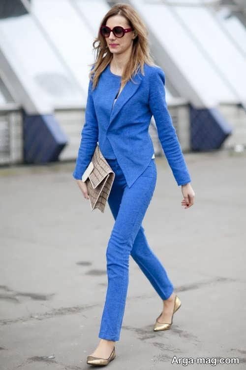 کت و شلوار ساده و آبی