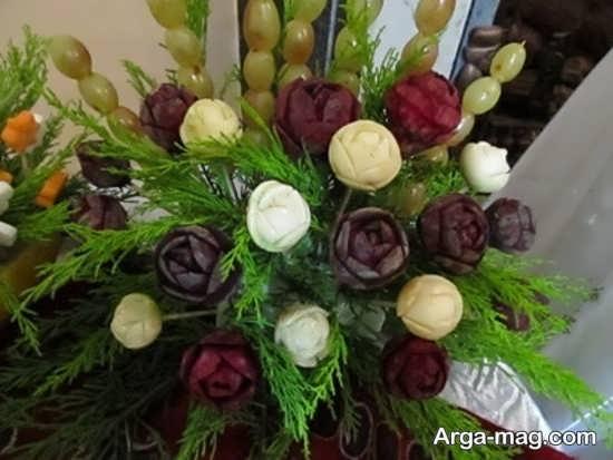 تزیین میوه به شکل دسته گل برای شب یلدا