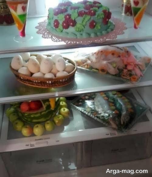 تزیین میوه و مواد غذایی برای یخچال نوعروس