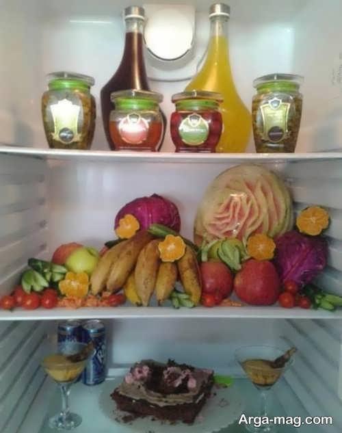 تزیین میوه و شیشه مربا برای یخچال عروس