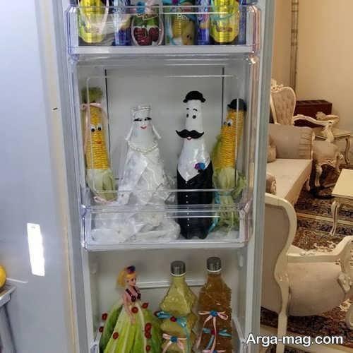 تزیین بطری برای یخچال عروس