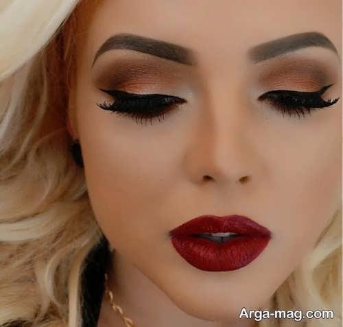 مدل آرایش صورت عروس با رژلب رنگ تیره