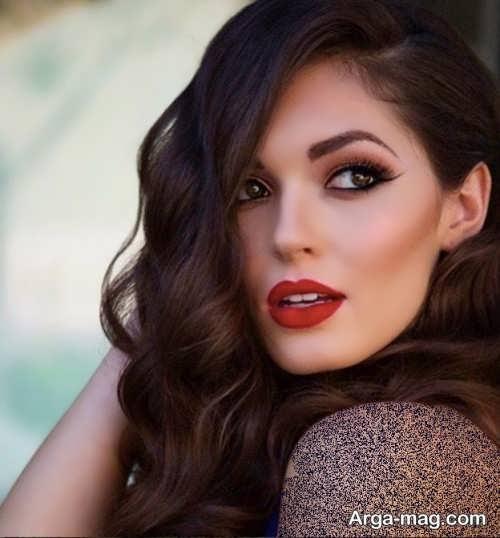 مدل آرایش ملایم عروس با رژلب قرمز