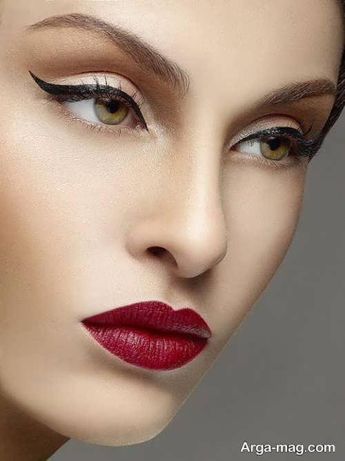 مدل آرایش صورت عروس با رژلب قرمز