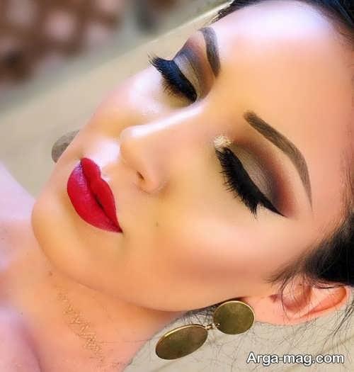 مدل آرایش صورت عروس با رنگ رژلب قرمز