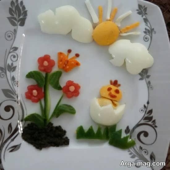 تزئین تخم مرغ پخته