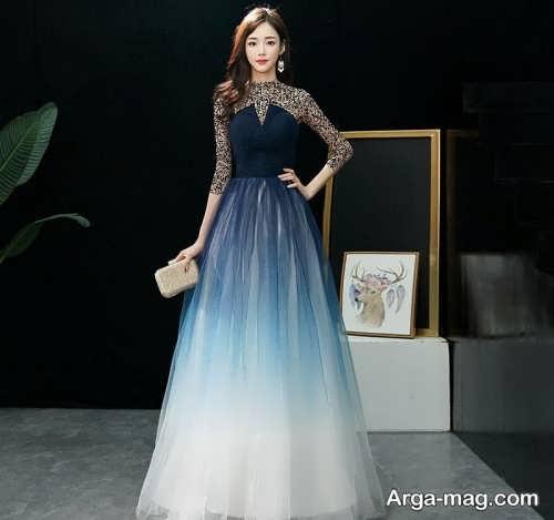مدل لباس مجلسی دو رنگ