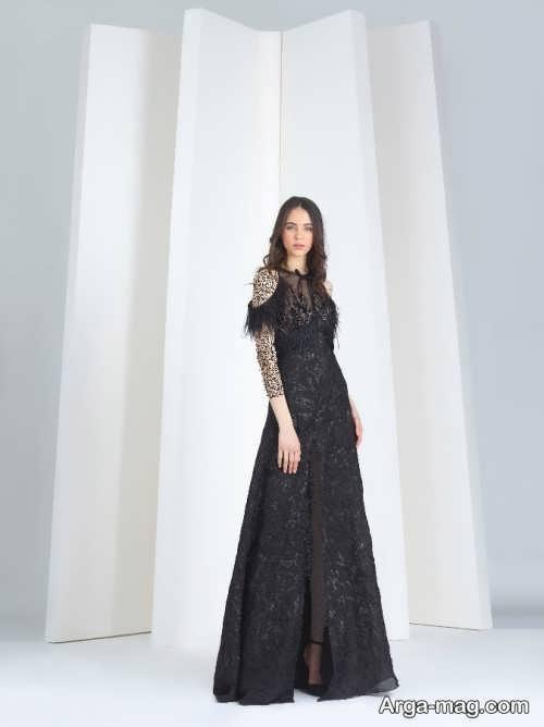 مدل لباس مجلسی گیپور مشکی