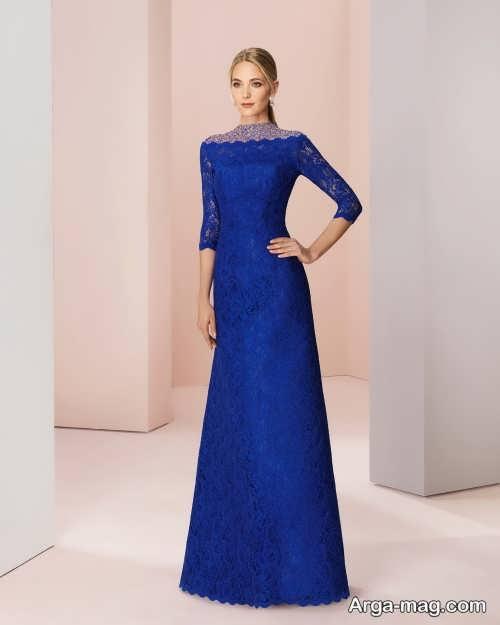 لباس مجلسی گیپور بلند آبی