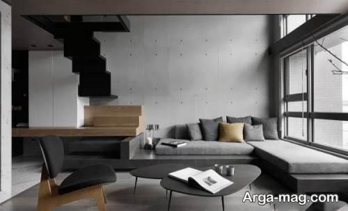 طراحی اتاق پذیرایی با کف پوش چوبی