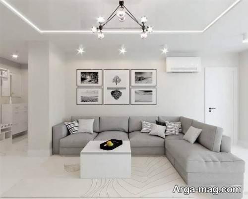 طراحی پذیرایی با خاکستری روشن