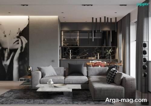 لاکچری شدن اتاق پذیرایی با رنگ خاکستری