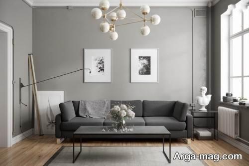 دکوراسیون اتاق پذیرایی خاکستری روشن