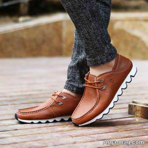 مدل کفش مردانه قهوه ای و سفید