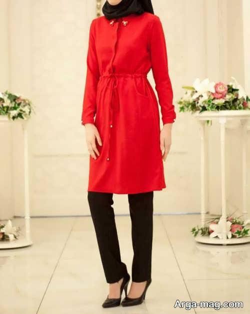 مدل مانتوی قرمز زنانه