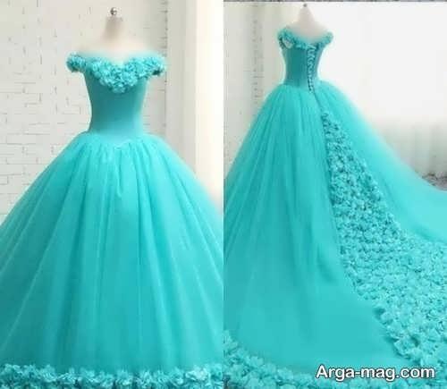 مدل پیراهن عروس پفی رنگی
