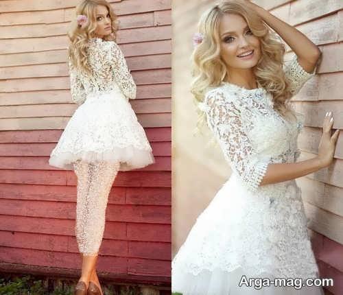 لباس عروس آستین دار و کوتاه