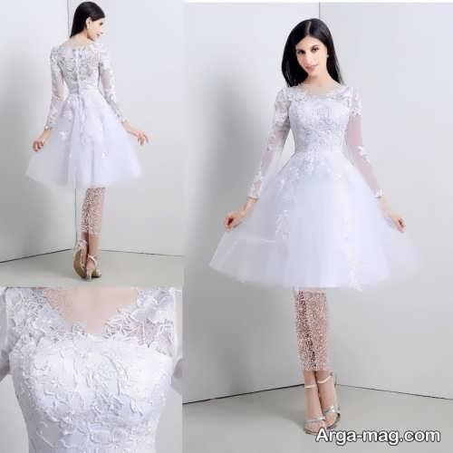 مدل لباس عروس کوتاه و آستین دار