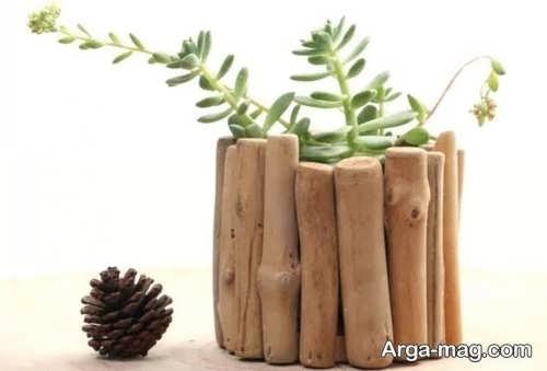 گلدان زیبا و فانتزی چوبی