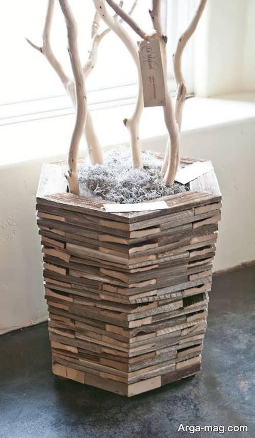 گلدان تزیینی چوبی