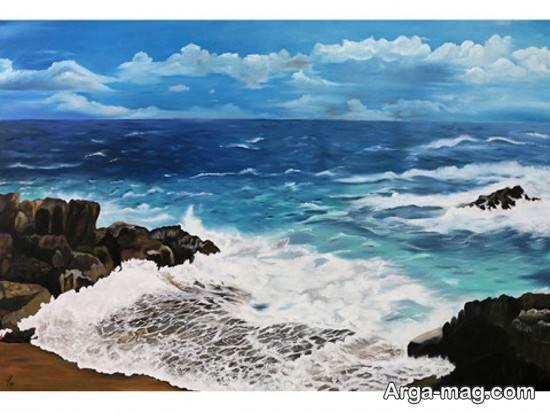 نقاشی دریا با ایده خلاقانه