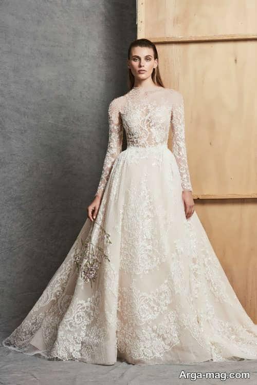 لباس عروس آستین دار و شیک