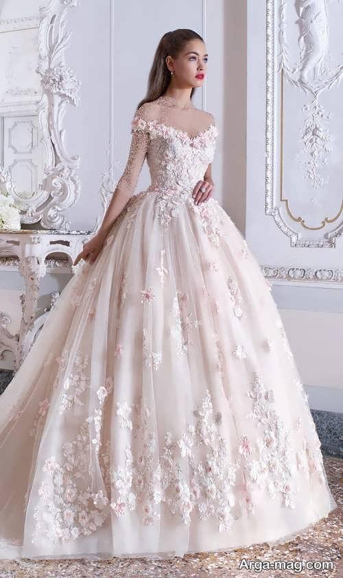 مدل لباس عروس کار شده و شیک