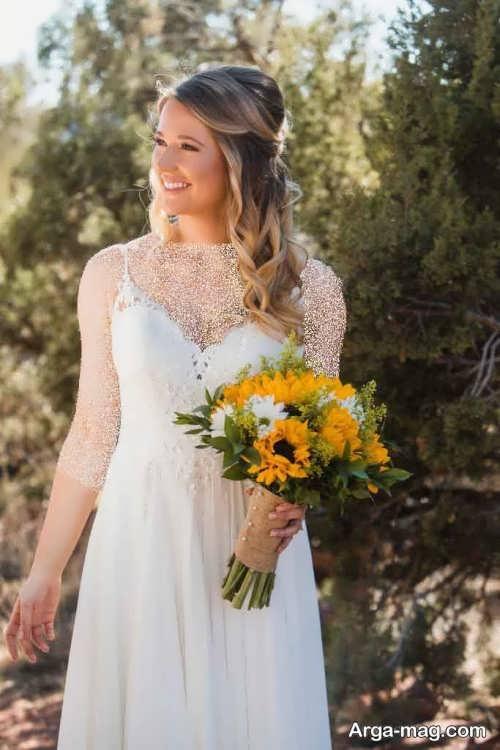 ژست عکس عروس با دسته گل