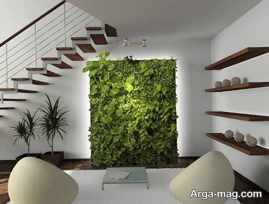 دیزاین فوق العاده زیر راه پله با گل های طبیعی
