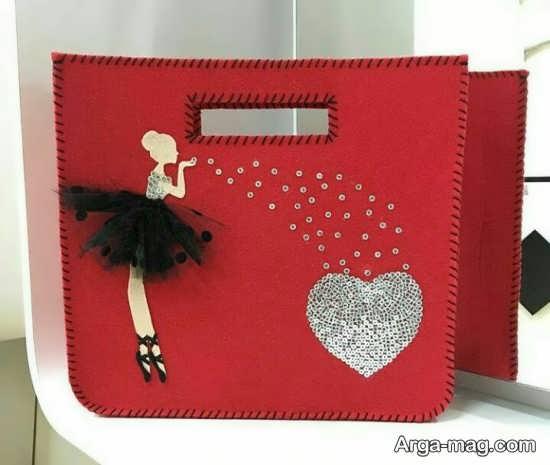 تزئین کیف دخترانه نمدی