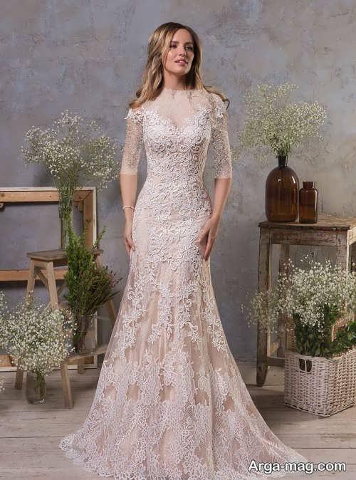 مدل پیراهن عروس طرح دار و شیک