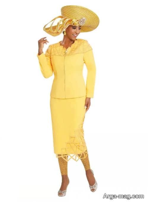 مدل کت و دامن بلند و زرد