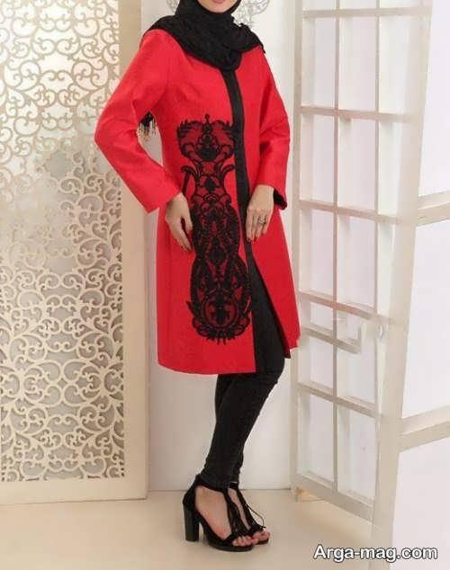 مدل مانتوی قرمز و مشکی زنانه