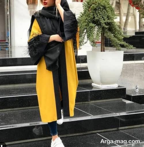 مدل مانتو زرد و مشکی 98