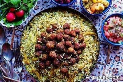 تزیین کلم پلو شیرازی