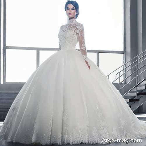 مدل پیراهن عروس آستین دار و زیبا