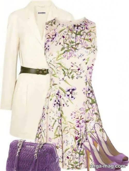 ست لباس سفید و بنفش زنانه
