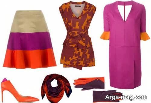 ست لباس نارنجی و بنفش
