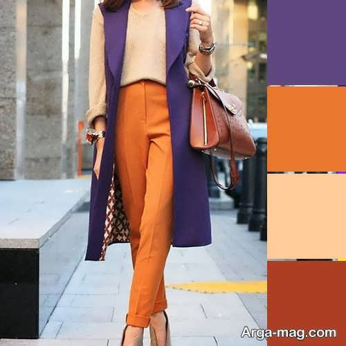 ست لباس بنفش و نارنجی