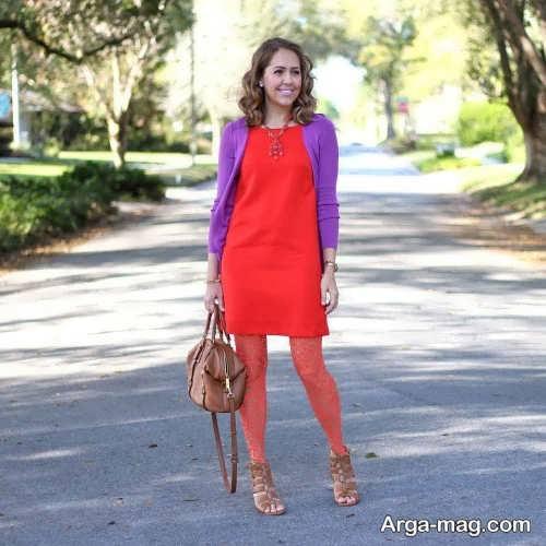 ست لباس قرمز و بنفش