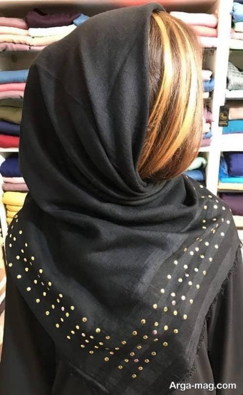 مدل روسری مشکی کار شده