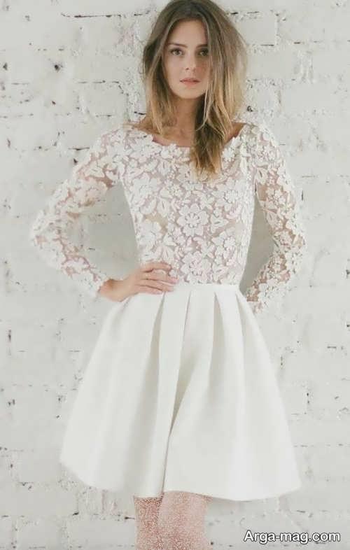 مدل لباس عروس کار شده با گیپور