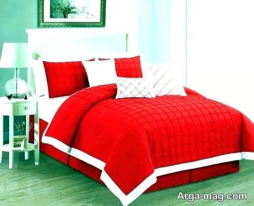 مدل روکش قرمز و سفید تخت خواب