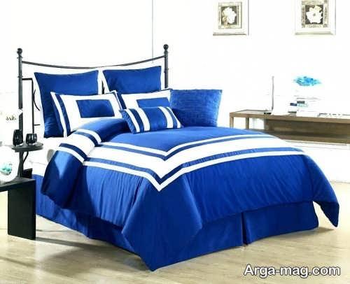 روکش تخت خواب آبی و سفید