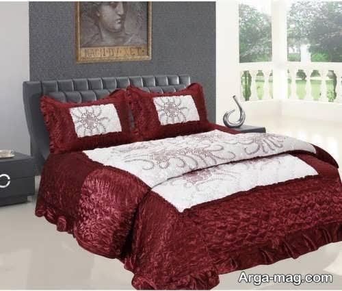 روکش تخت خواب سفید و زرشکی