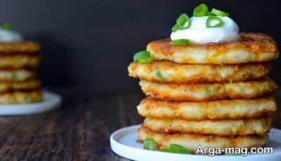 تزیین ساده پنکیک سیب زمینی
